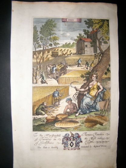 Richard Blome 1686 Hand Col Print. Ceres. Agriculture, Farming | Albion Prints
